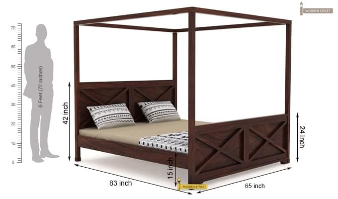 Warner Poster Bed Without Storage (Queen Size, Walnut Finish)-4