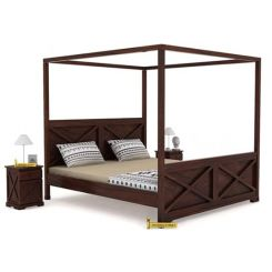 Warner Poster Bed Without Storage (King Size, Walnut Finish)