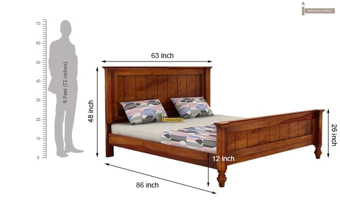 Willock Bed Without Storage (Queen Size, Honey Finish)-4