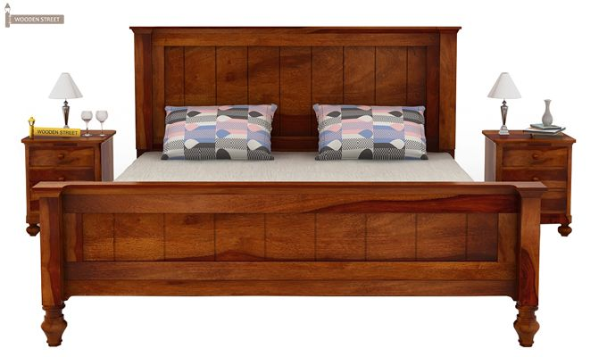 Willock Bed Without Storage (King Size, Honey Finish)-2