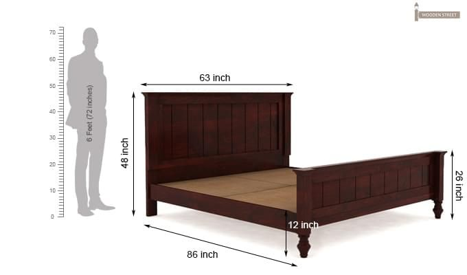 Willock Bed Without Storage (Queen Size, Mahogany Finish)-8