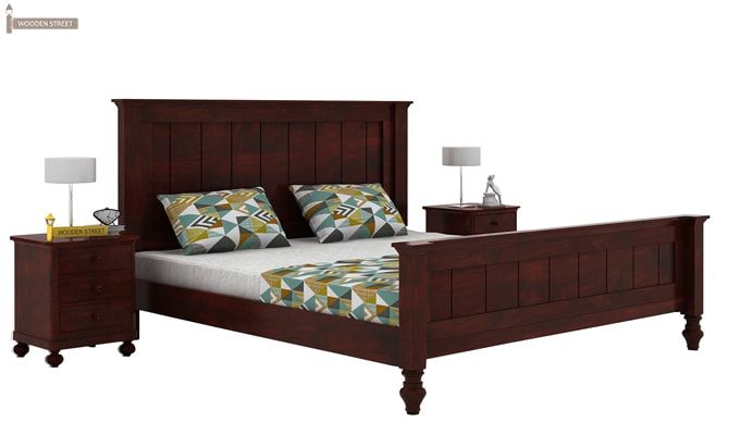 Willock Bed Without Storage (Queen Size, Mahogany Finish)-2