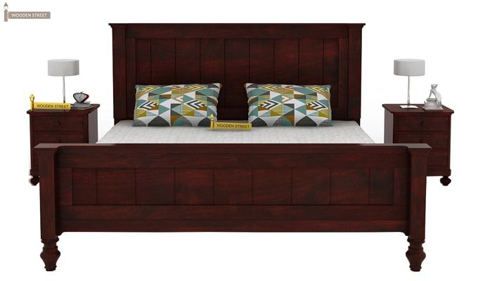 Willock Bed Without Storage (Queen Size, Mahogany Finish)-3
