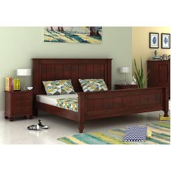Willock Bed Without Storage (King Size, Mahogany Finish)
