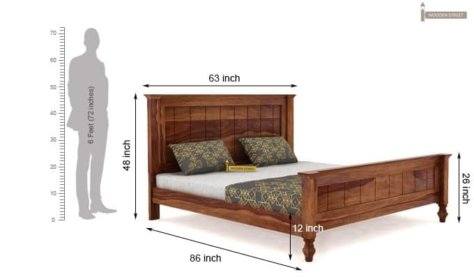 Willock Bed Without Storage (Queen Size, Teak Finish)-4