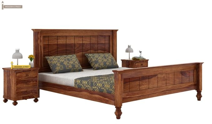 Willock Bed Without Storage (Queen Size, Teak Finish)-1