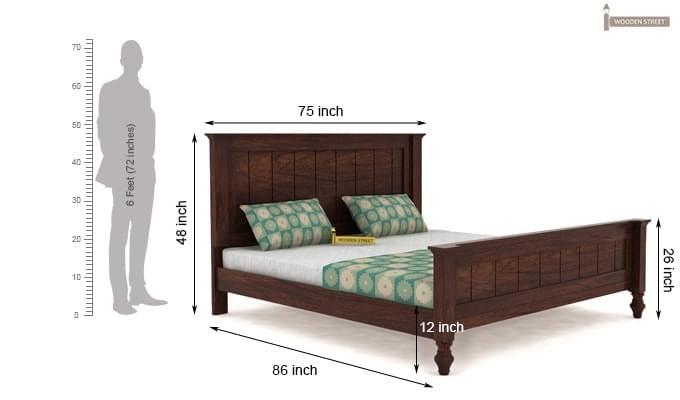 Willock Bed Without Storage (King Size, Walnut Finish)-4