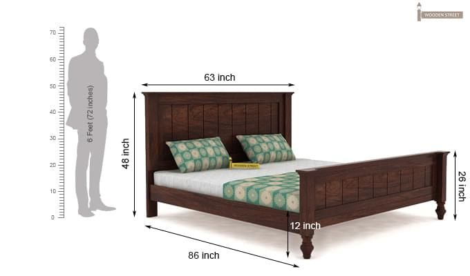 Willock Bed Without Storage (Queen Size, Walnut Finish)-4