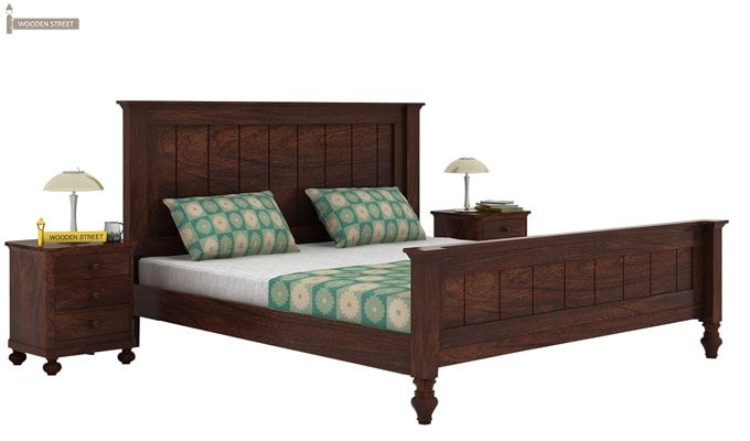 Willock Bed Without Storage (Queen Size, Walnut Finish)-1