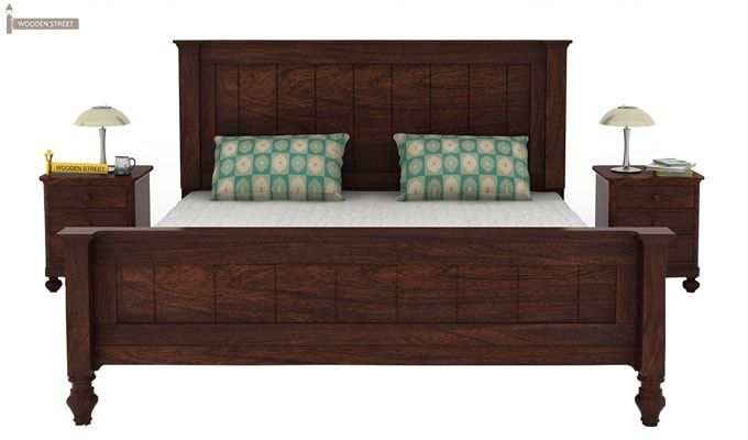 Willock Bed Without Storage (Queen Size, Walnut Finish)-2