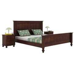 Willock Bed Without Storage (King Size, Walnut Finish)