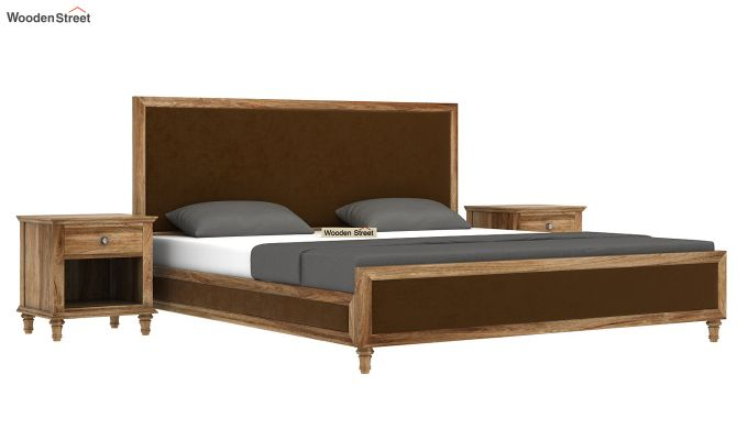 Winston Bed Without Storage (Chocolate Brown, Velvet) (King Size,Natural Finish)-2