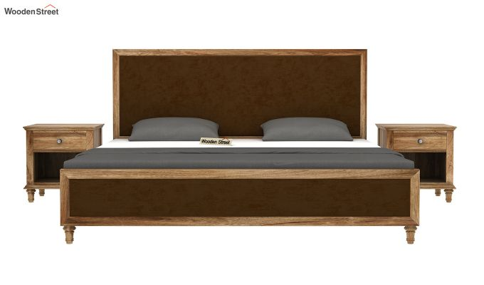 Winston Bed Without Storage (Chocolate Brown, Velvet) (King Size,Natural Finish)-3
