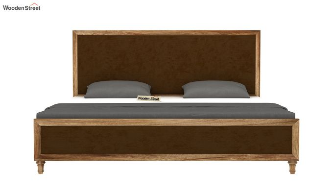 Winston Bed Without Storage (Chocolate Brown, Velvet) (King Size,Natural Finish)-5
