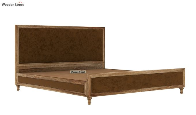 Winston Bed Without Storage (Chocolate Brown, Velvet) (King Size,Natural Finish)-6