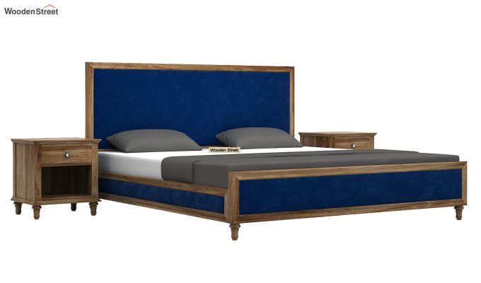 Winston Bed Without Storage (Indigo Blue, Velvet) (Queen Size,Natural Finish)-2