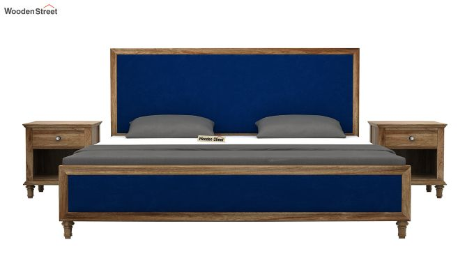 Winston Bed Without Storage (Indigo Blue, Velvet) (Queen Size,Natural Finish)-3