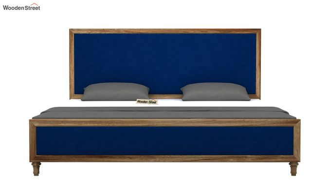 Winston Bed Without Storage (Indigo Blue, Velvet) (Queen Size,Natural Finish)-5