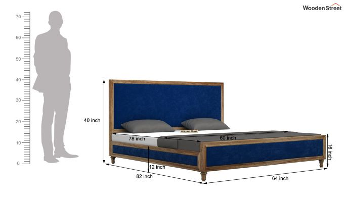 Winston Bed Without Storage (Indigo Blue, Velvet) (Queen Size,Natural Finish)-6