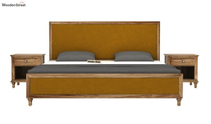 Winston Bed Without Storage (Chestnut Brown, Velvet) (Queen Size,Natural Finish)-3