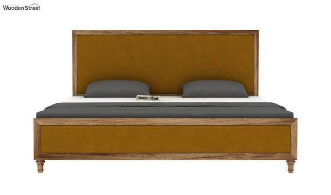 Winston Bed Without Storage (Chestnut Brown, Velvet) (Queen Size,Natural Finish)-5