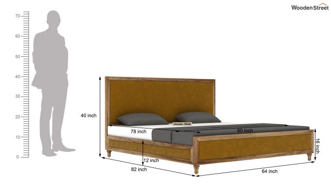 Winston Bed Without Storage (Chestnut Brown, Velvet) (Queen Size,Natural Finish)-8