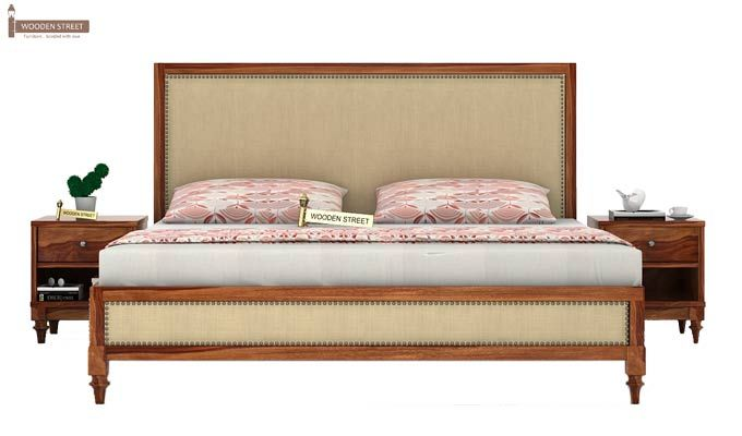 Winston Bed Without Storage (King Size, Teak Finish)-2