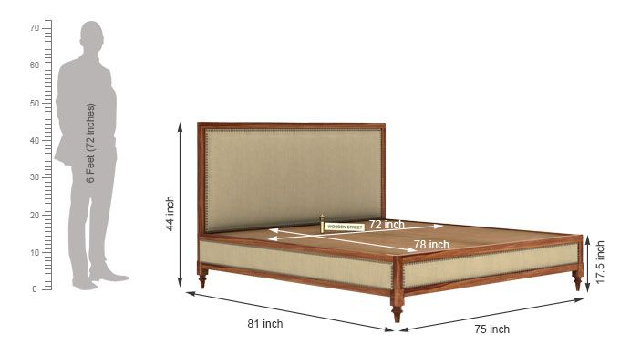 Winston Bed Without Storage (King Size, Teak Finish)-6