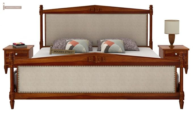 Wopper Bed Without Storage (King Size, Honey Finish)-2