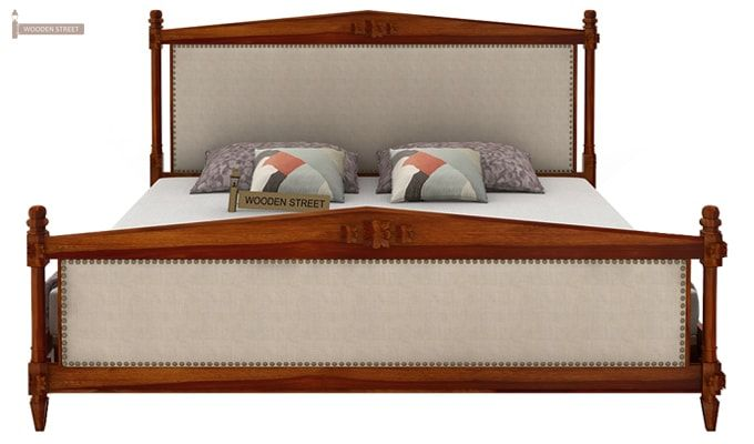 Wopper Bed Without Storage (King Size, Honey Finish)-3