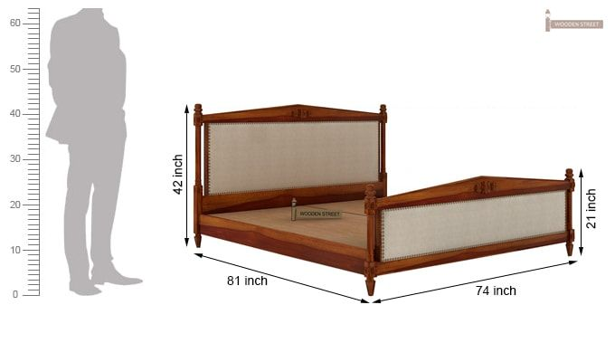 Wopper Bed Without Storage (King Size, Honey Finish)-6