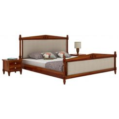 Wopper Bed Without Storage (King Size, Honey Finish)