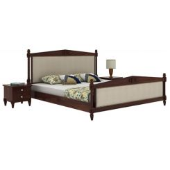 Wopper Bed Without Storage (King Size, Walnut Finish)