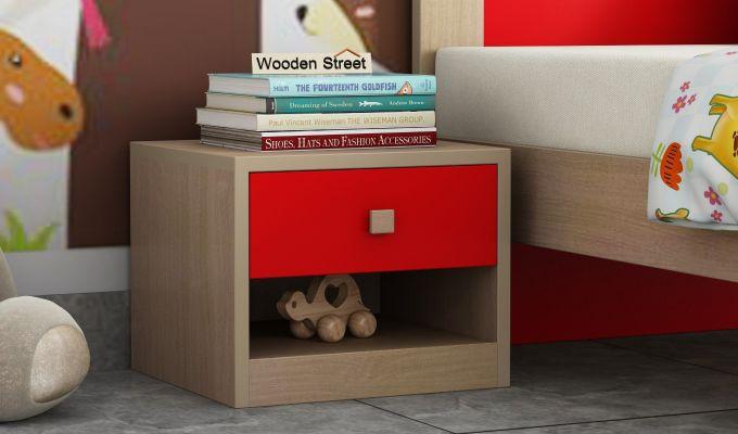 Marina Kids Bedside Table (Cardinal Red)-1
