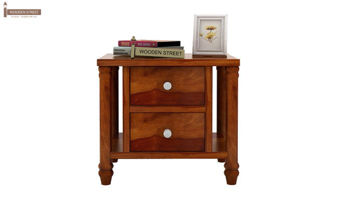 Ornat Bedside Table (Honey Finish)-3