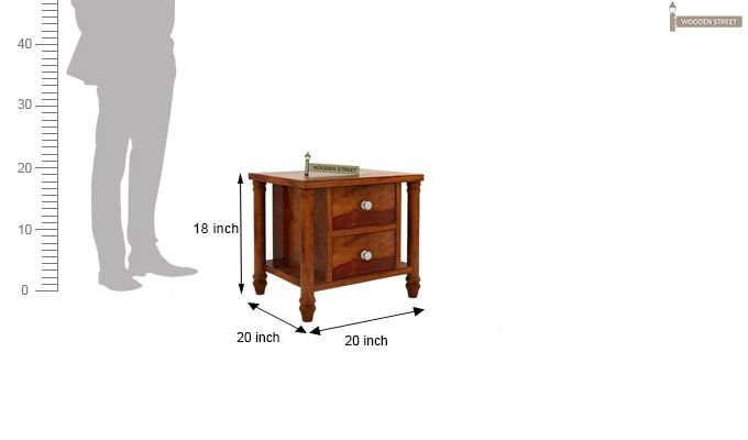 Ornat Bedside Table (Honey Finish)-5