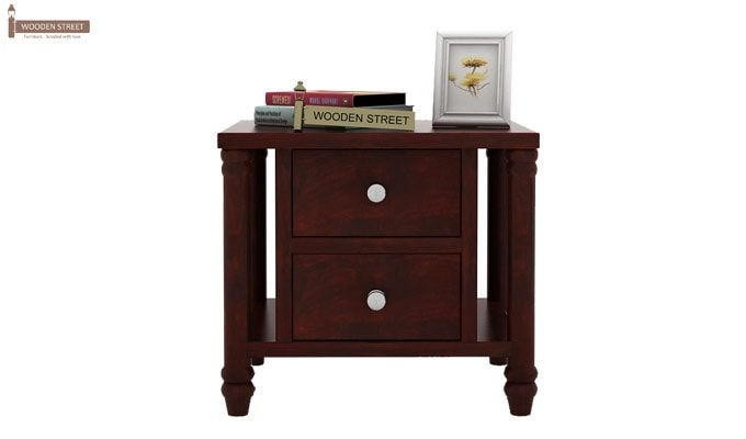 Ornat Bedside Table (Mahogany Finish)-2
