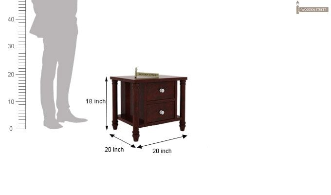 Ornat Bedside Table (Mahogany Finish)-4
