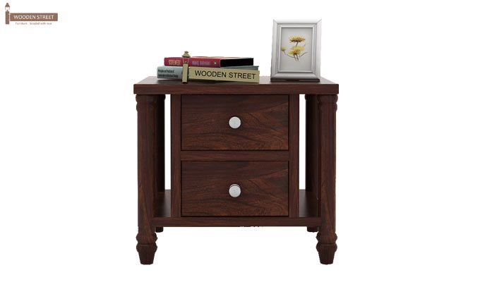 Ornat Bedside Table (Walnut Finish)-2