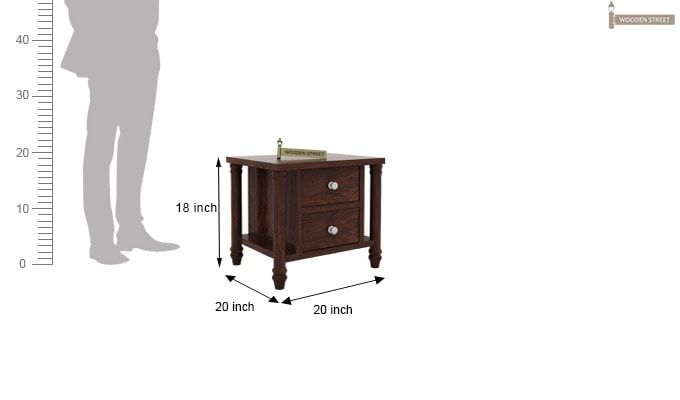 Ornat Bedside Table (Walnut Finish)-4