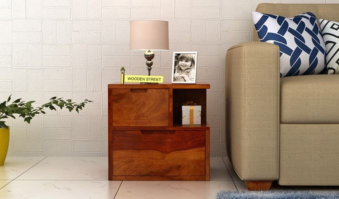 Adrian Bedside Table (Honey Finish)-1