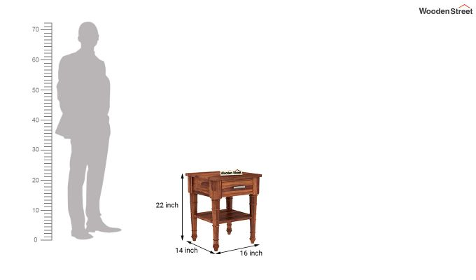 Allan Bedside Table (Honey Finish)-5