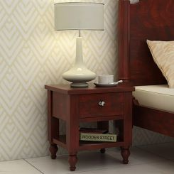 Alpine Bedside Table (Mahogany Finish)
