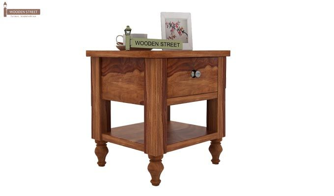 Alpine Bedside Table (Teak Finish)-1