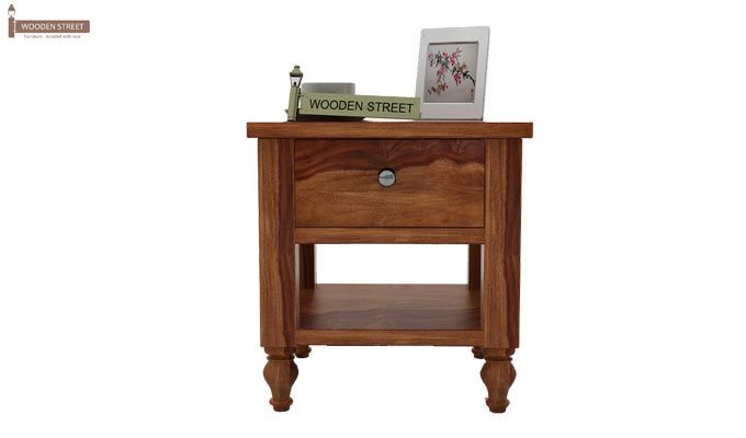 Alpine Bedside Table (Teak Finish)-2