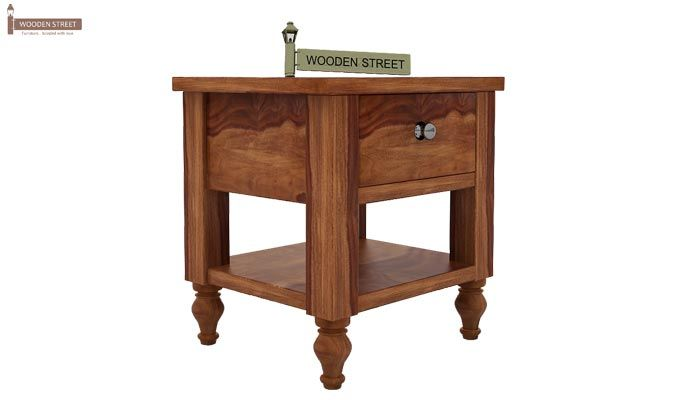 Alpine Bedside Table (Teak Finish)-3