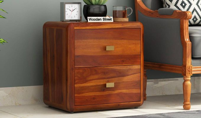 Aron Bedside Table (Honey Finish)-1