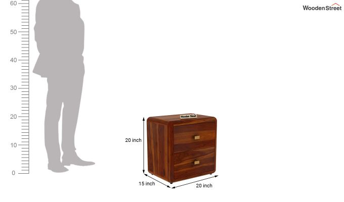 Aron Bedside Table (Honey Finish)-5