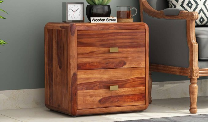 Aron Bedside Table (Teak Finish)-1