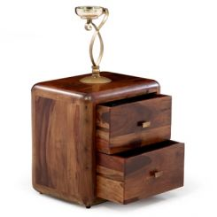Aron Bedside Table (Teak Finish)